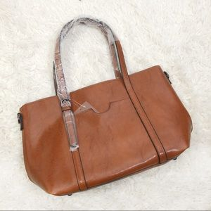 NWT brown tote bag purse zipper extra strap
